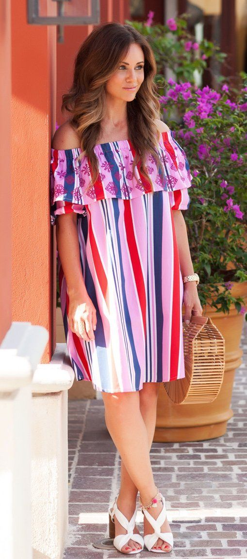 #summer #outfits Love This Little Bold Striped Off The Shoulder Dress!  Perfect For Vacation!