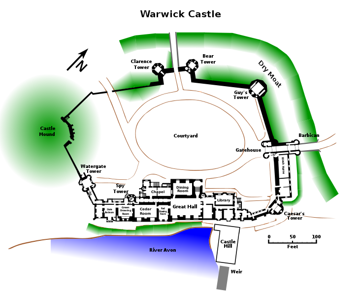 Ground Plan Of Warwick Castle In Warwickshire West Midlands England Image Created By Gamekeeper Wikipedia Org C Warwick Castle Castle Plans Castle Layout