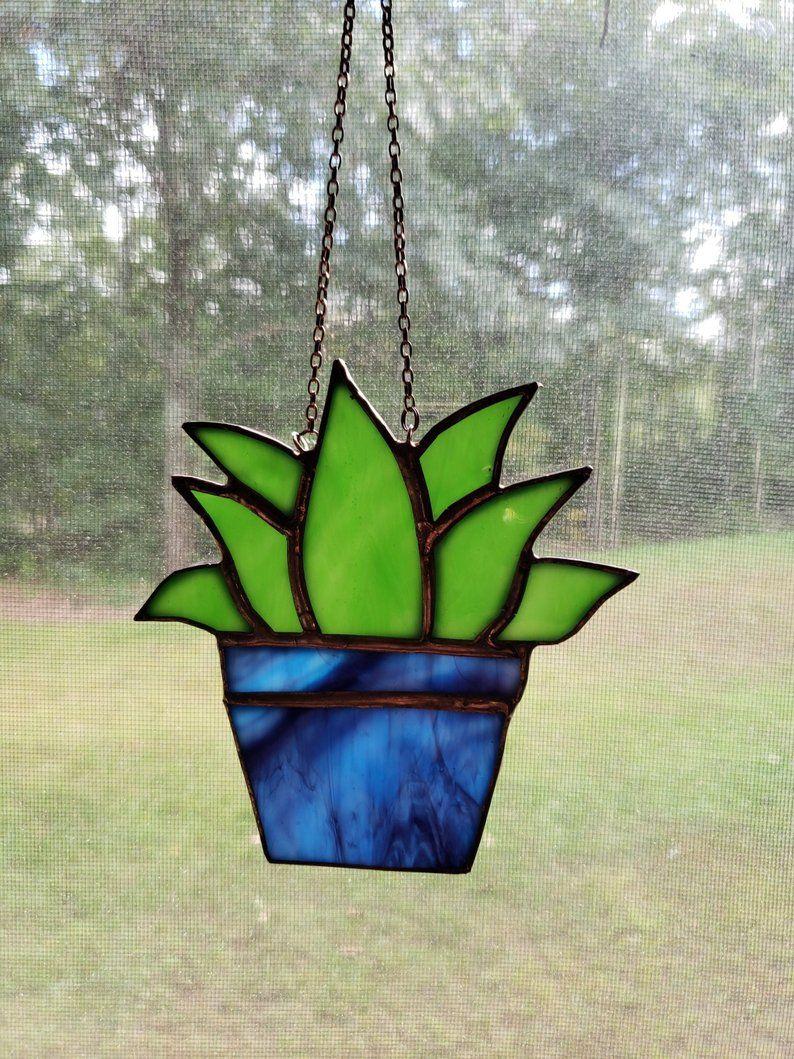 Potted Succulent Glass Art, Unique Stained Glass Small Succulent Decorative Glass Art, Adorable Ornament Creative Gift Idea -   16 plants Decor glass ideas