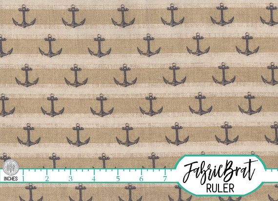 Mustache Stripes on Beige Premium 100/% Cotton Fabric by the Yard