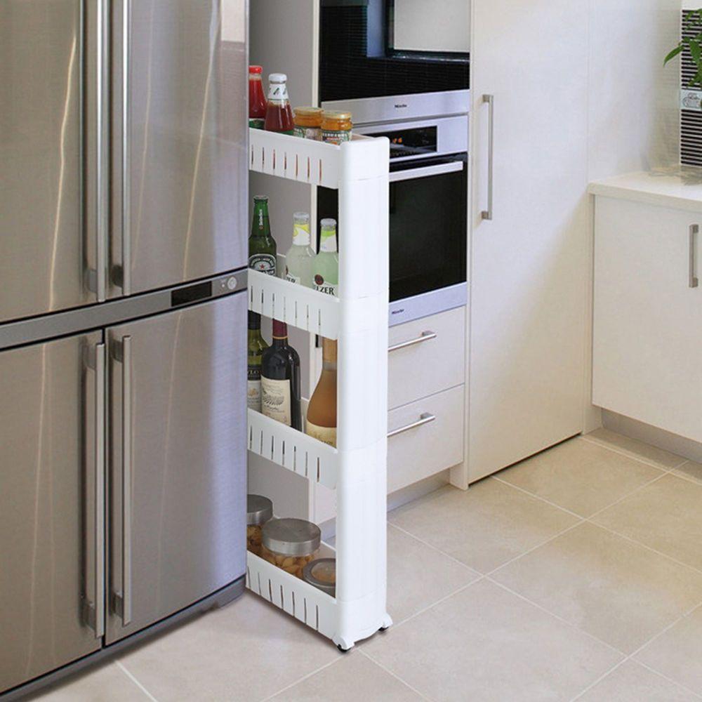 White Bathroom Laundry Storage slim slide out bathroom laundry kitchen space saver storage tower