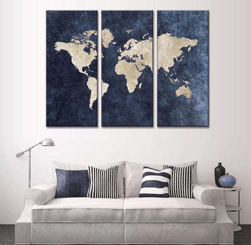 Panel Blue World Map Canvas Wall Art Interior Design Inspiration - 3 piece world map wall art