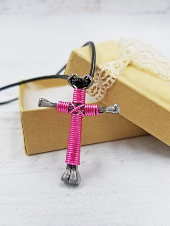 Pretty Pink Wire Wrapped Cross Necklace To Give As A Gift The New Christian Remind Her Of Faith In Jesus Christ Click Through For More Colors And