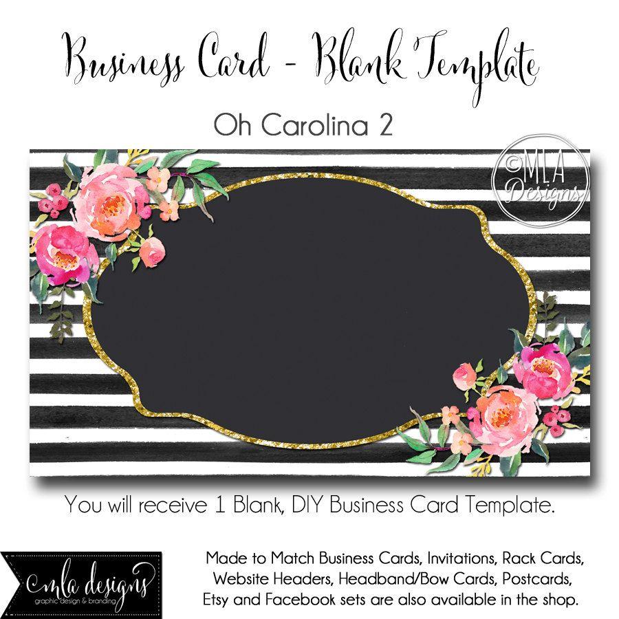 Striped Business Card Template Oh Carolina 2 Made To Match Etsy Blank Business Cards Striped Business Card Business Card Template