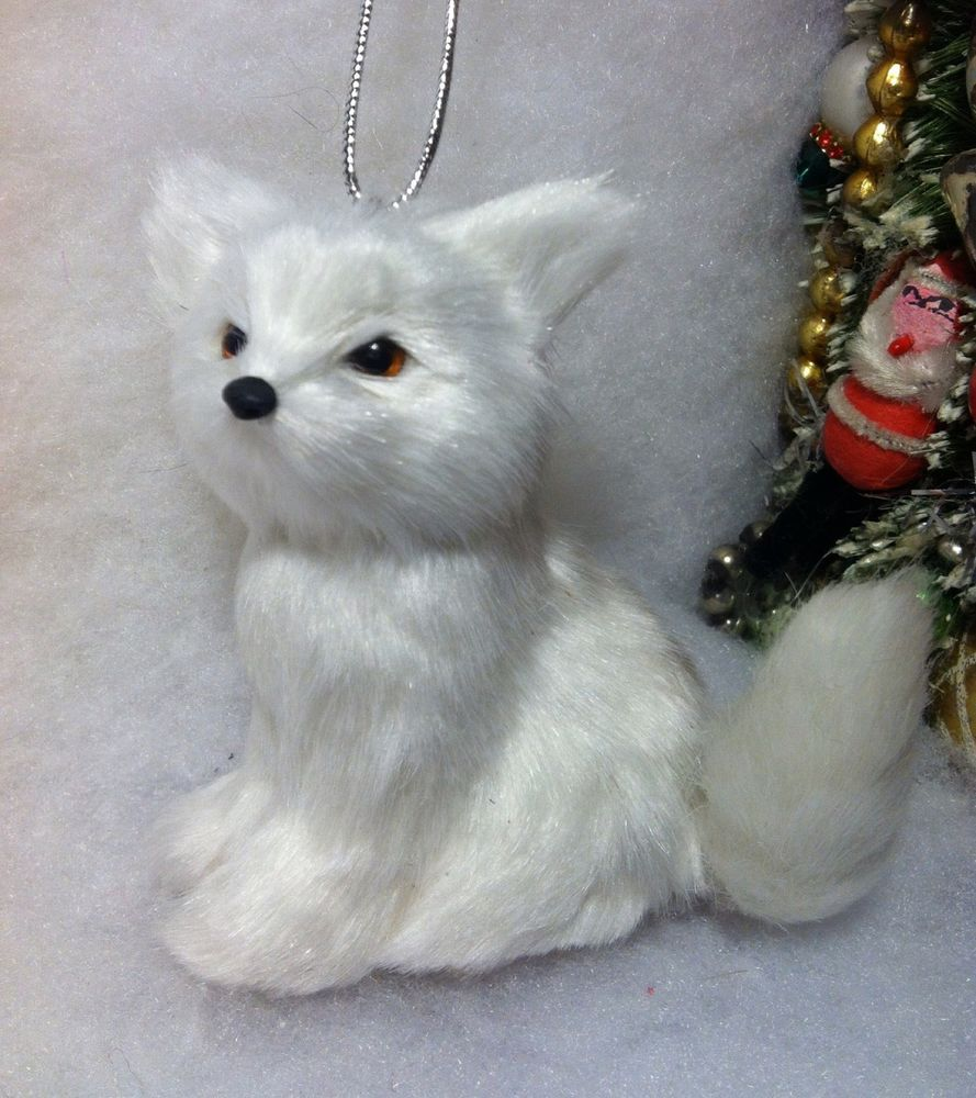 Bottle brush woodland animals - Fox Christmas Tree Ornament Faux Fur White Woodland