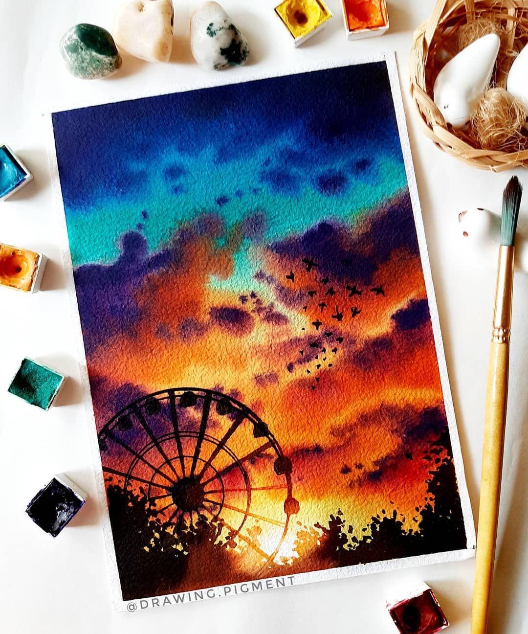 Simple Ferris Wheel Drawing : simple, ferris, wheel, drawing, Ferris, Wheel, Sunset, Nature, Painting,, Painting, Projects