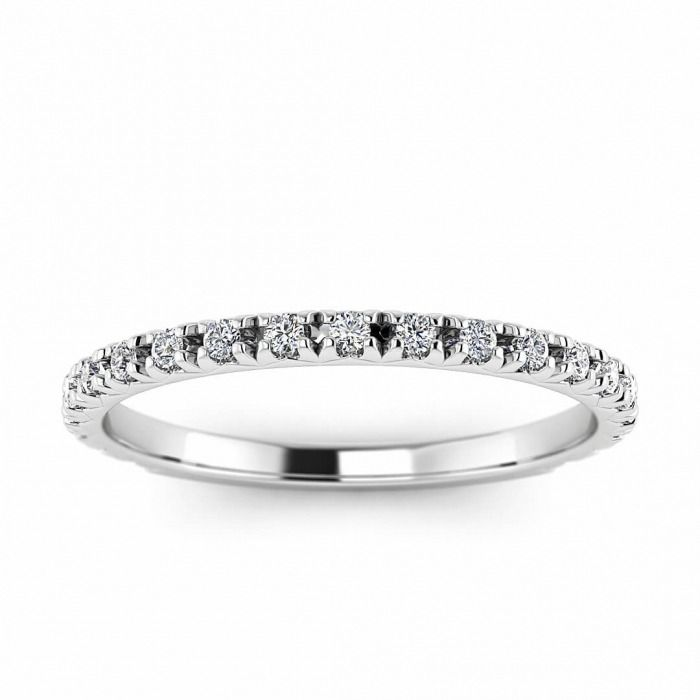 14k White Gold Allore French Pave Diamond Band 1 5 Ct Tw Pave Diamond Band Diamond Bands White Gold Wedding Bands