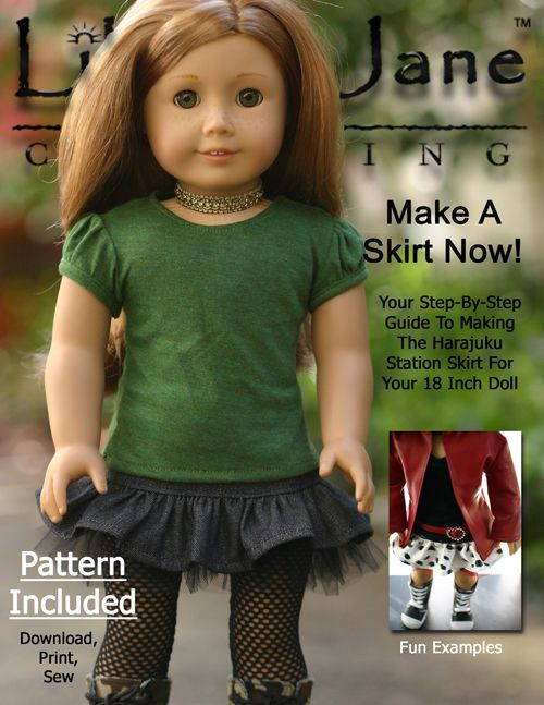 Harajuku Skirt 18 Doll Clothes Pattern #bedfalls62