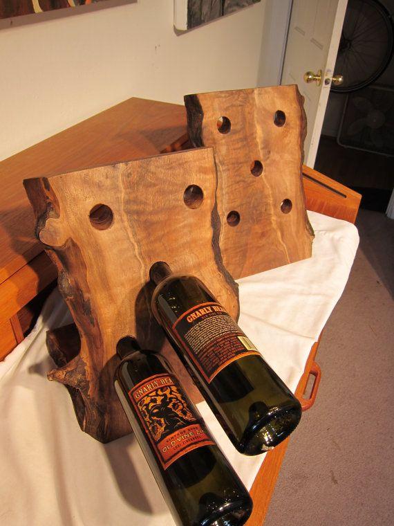 Live edge walnut wine rack by driftedge