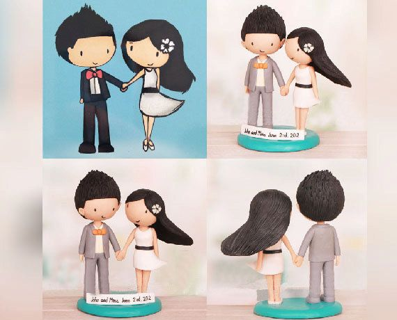 Personalised wedding cake topper Cartoon by UniqueCakeToppers ...