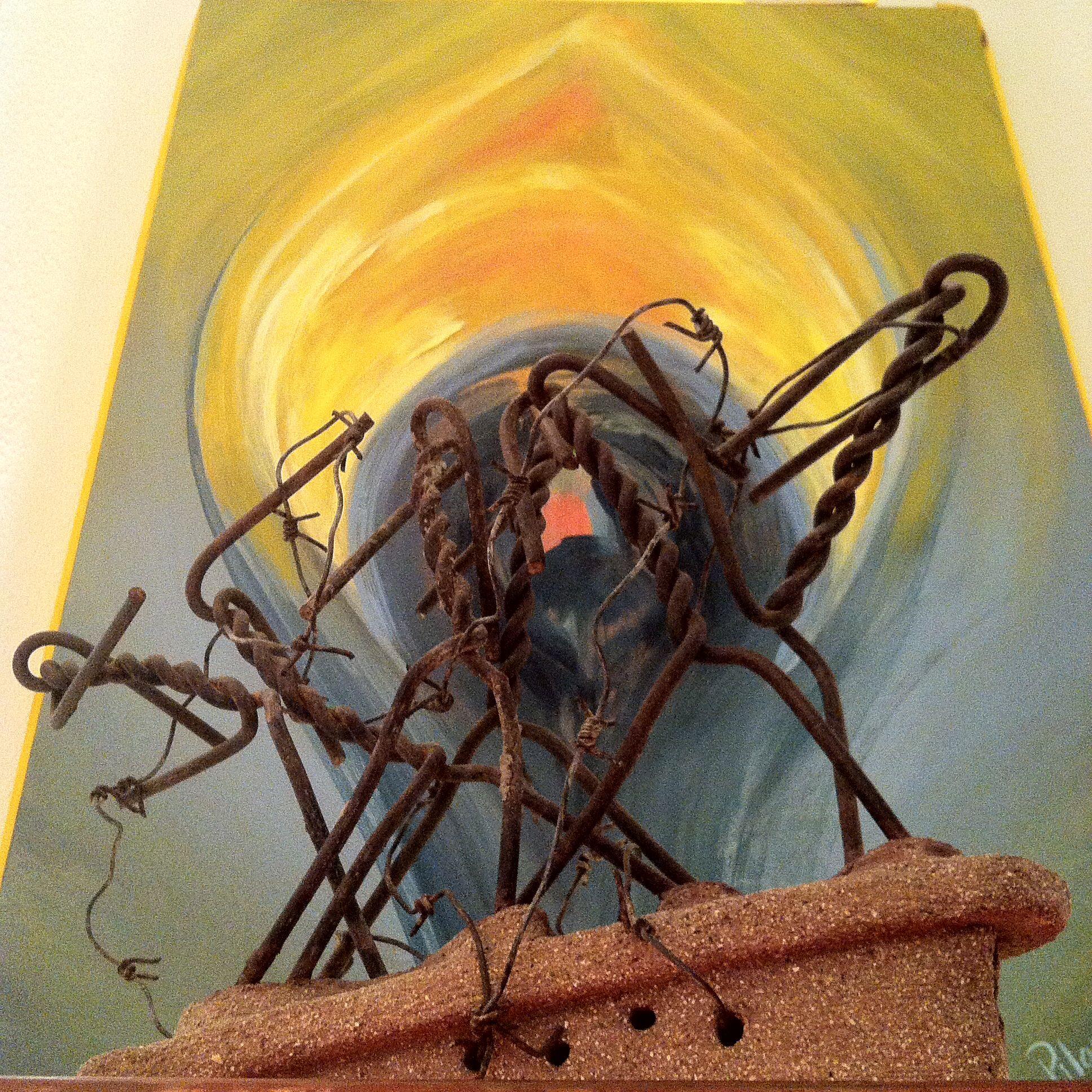 Pilar Posada: Kosovo, escultura y acrílico