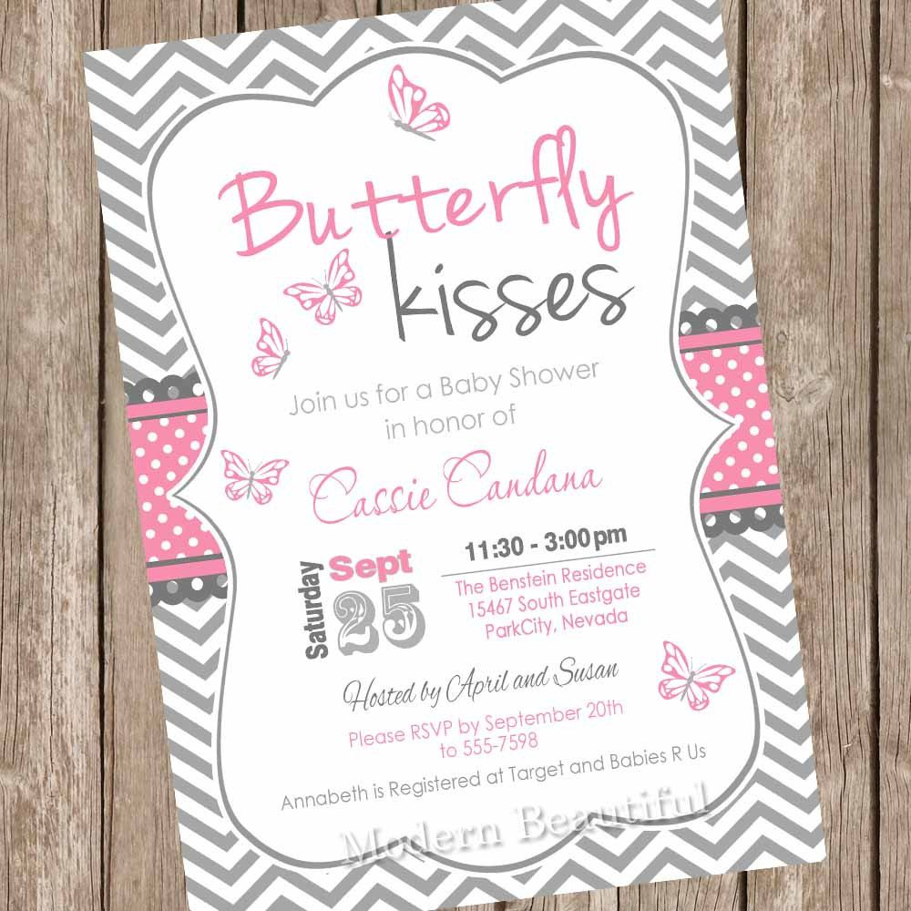 butterfly kisses baby shower invitation butterfly baby shower