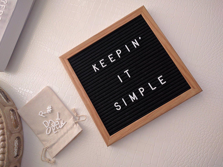 Amazonsmile Black Felt Letter Board 10x10 Inch Premium Oak Wood Frame 340 White Changeable Plastic Letters Fid Felt Letter Board Plastic Letters Letter Board