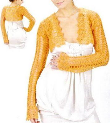 TEJER GANCHILLO CROCHET: Patrón de bolero a crochet. | Patrones ...