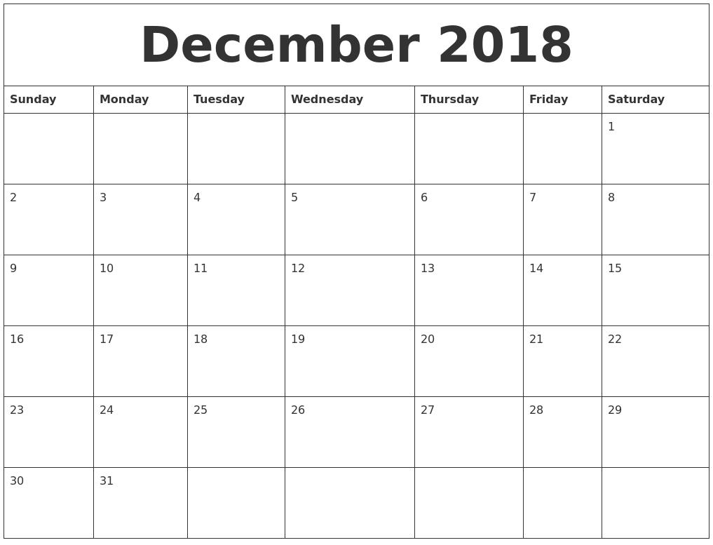 December 2018 Excel Printable Calendar 2018 Calendars Calendar