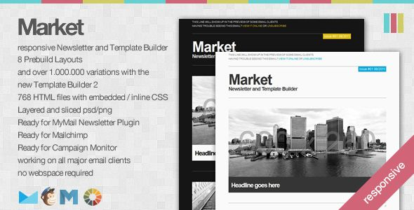 Free Nulled Market Responsive Newsletter With Template Builder - Campaign monitor html templates