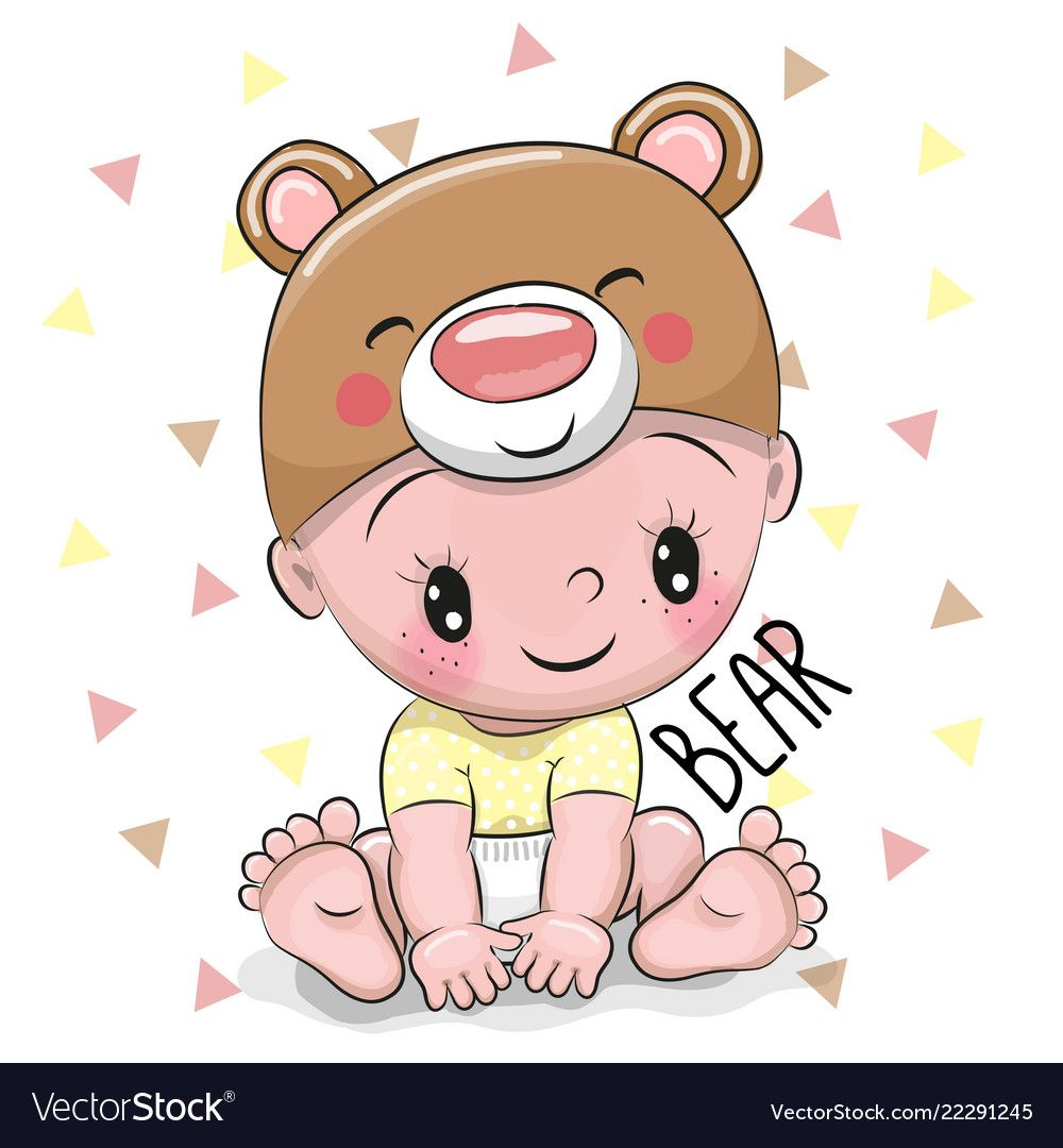 Cute Cartoon Baby Boy In A Bear Hat On A White Background Download A Free Preview Or High Quality Adobe Illustr Baby Cartoon Cute Cartoon Girl Safari Baby Png
