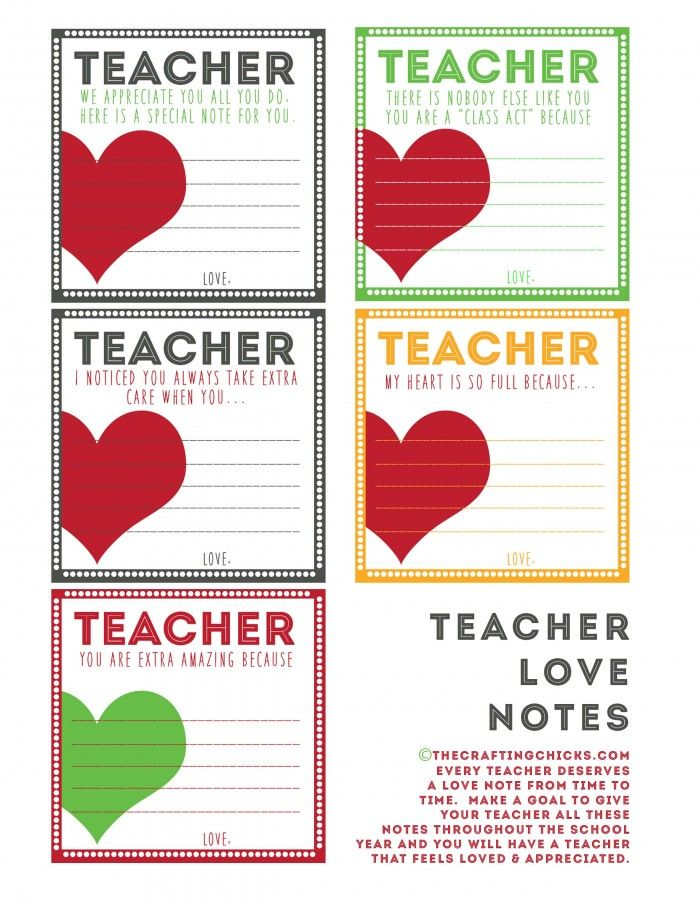 Teacher Love Notes & BACK TO SCHOOL PRINTABLES | Geier, Geschenk und ...