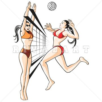 Sports Clipart Image Of Womens Beach Volleyball Players In The Sand Blocking And Spiking Http Www Rivalart Com Beach Volleyball Volleyball Players Volleyball