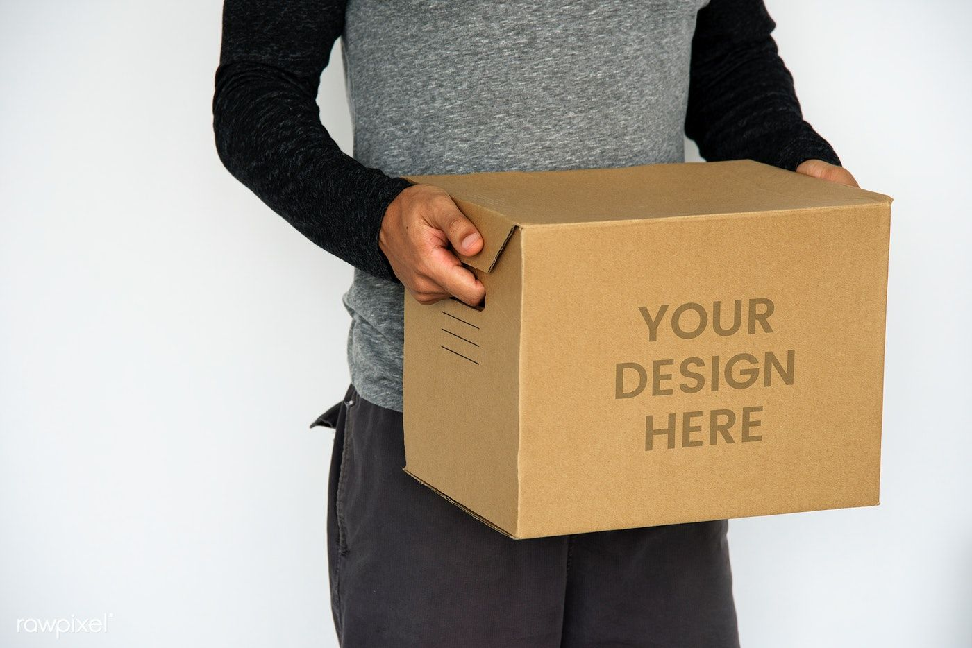 Download Download Premium Psd Of Man Carrying A Kraft Box Mockup 598473