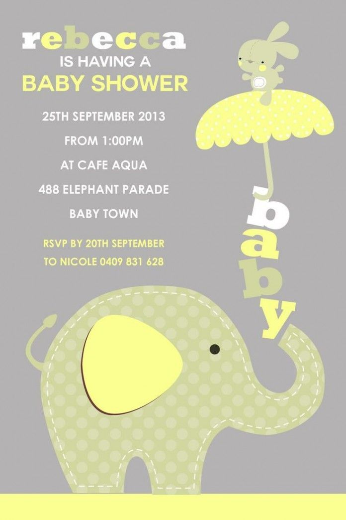 Prentresultaat vir baby elephant babyshowr ideas Babyshower - Free Baby Invitation Templates