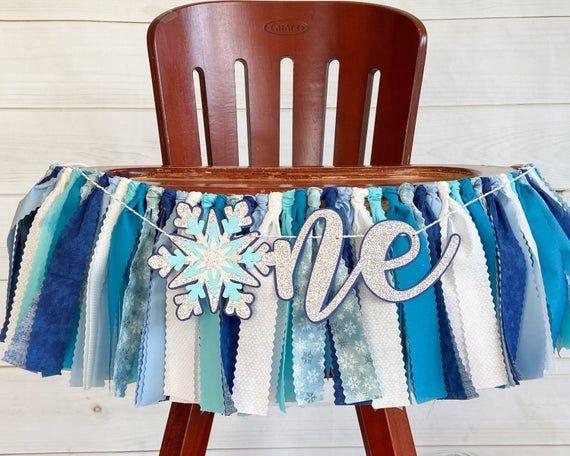 Boy Winter Onderland First Birthday Banner, Blue and Silver Winter Wonderland Highchair Banner, Wint