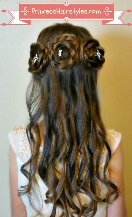 Half Up Rosette Buns Flower Girl Hairstyles Flower Girl Hairstyles Princess Hairstyles Hair Tutorial