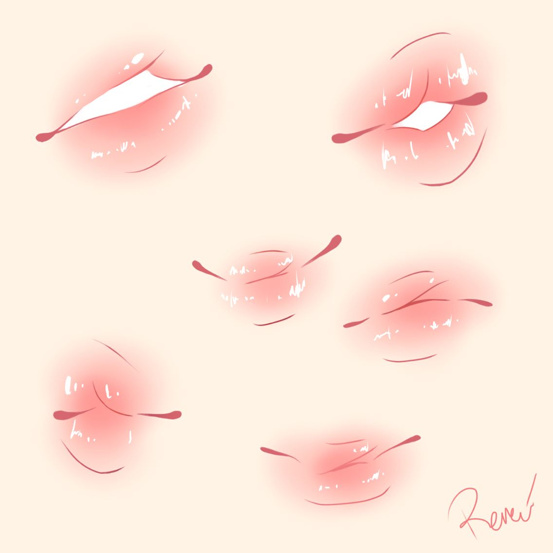 Plump Lips Cute Colouring Drawing Expressions Digital Art