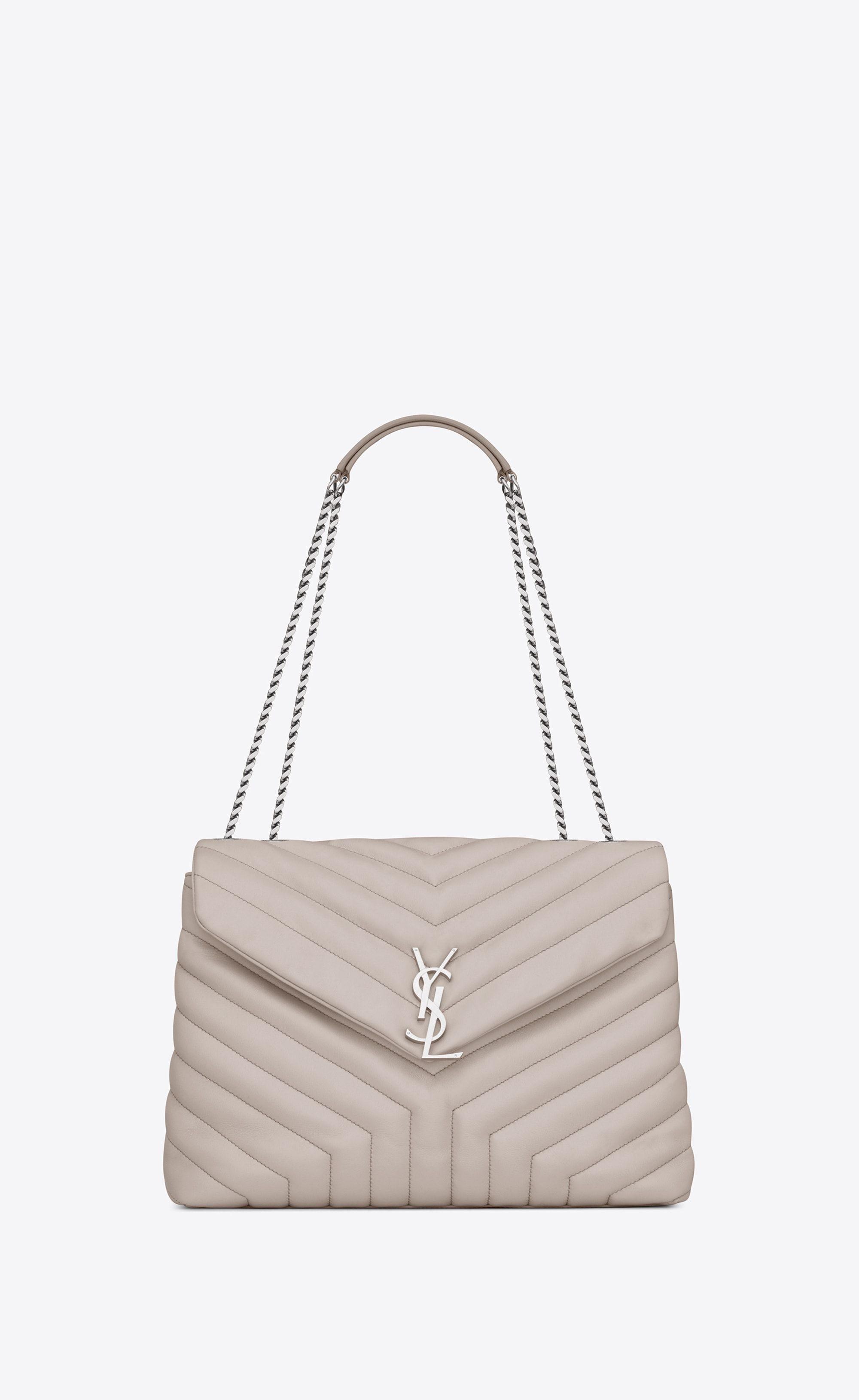 SAINT LAURENT Monogramme Loulou Woman medium loulou chain bag in black  tulip