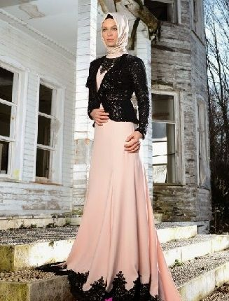 Pudra Rengi Elbise Ve Siyah Ceket Ile Kombinlenen Bu Tesettur Abiye Sizce De Gayet Sik Degil Mi Sezonun Tesettur Muslim Fashion Dress Fashion Dresses Dresses