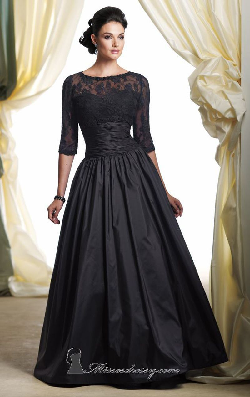 5c6b2df65a A Line Scoop Black Taffeta Floor-Length Womens Evening Dresses with Lace  Jacket