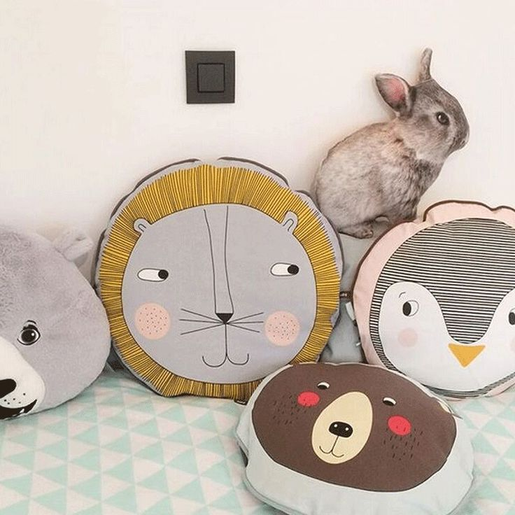 Kids Room Animals Back Pillow Round Lion Penguin Bear Decoration Pillow Cushion #bearbedpillowdolls