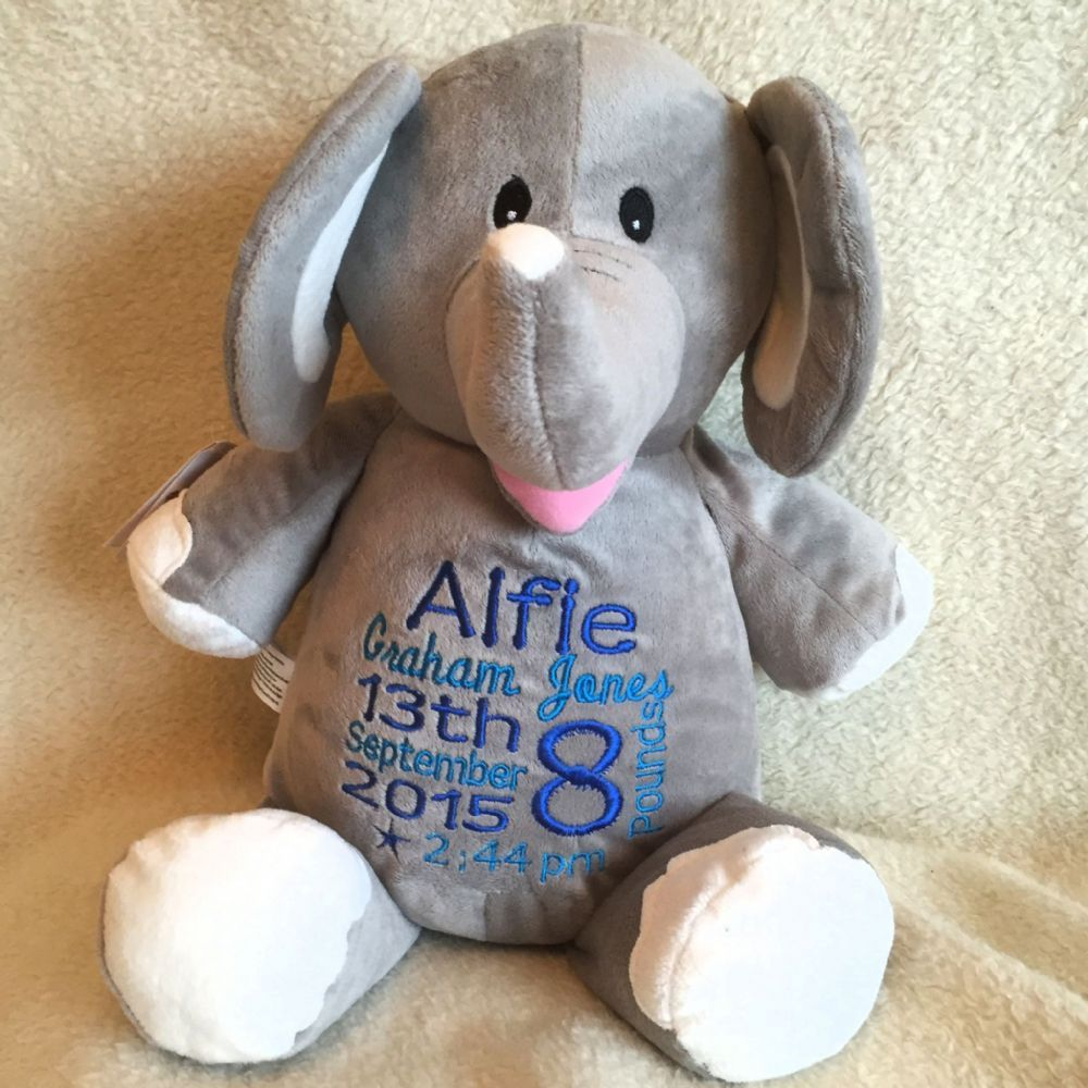 Personalised Soft Toy Animal Elle Elephant Cubbie We Will Embroider This  Gorgeous Soft Plush Elephant On