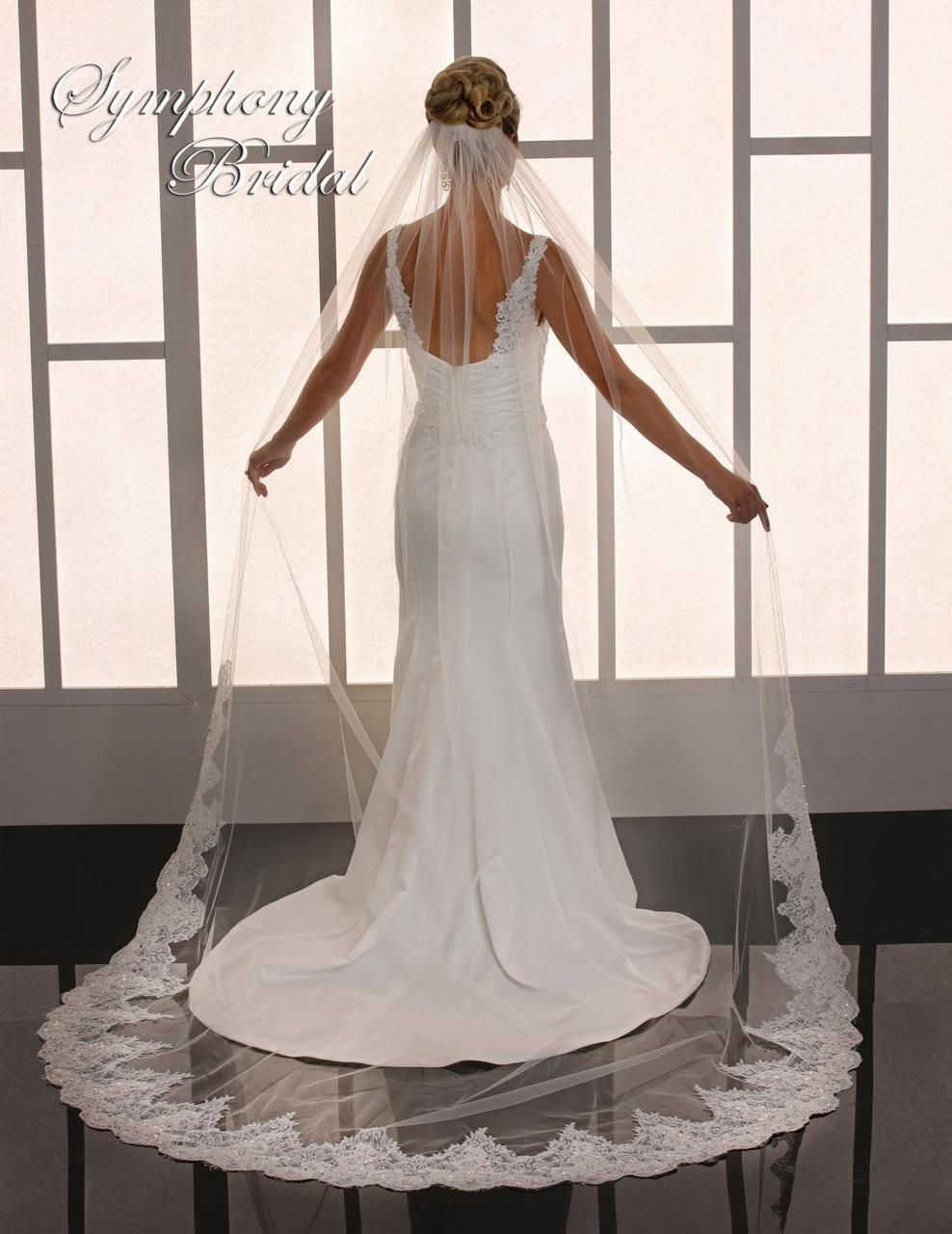 Fabulous Lace Cathedral Wedding Veil Symphony Bridal 6773VL - Affordable Elegance Bridal -