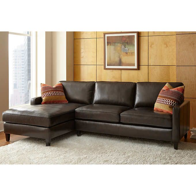 Andersen Top Grain Leather Chaise Sectional Walnut Brown Leather Chaise Sectional Brown Leather Sofa Couch With Chaise