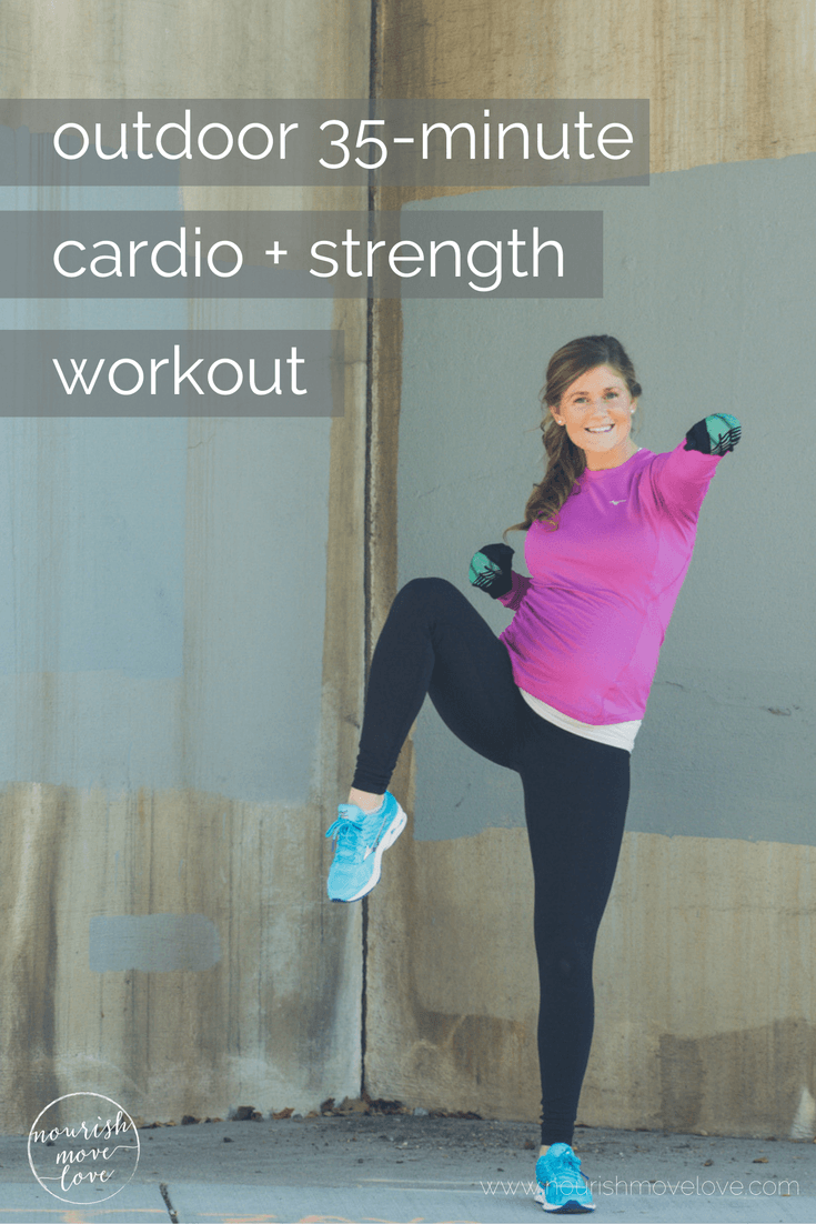outdoor 35-minute cardio and strength circuit workout, pairing timed running intervals with bodyweight strength training exercises, perfect for indoor or outdoors cardio + strength circuit workout | nourishmovelove.com