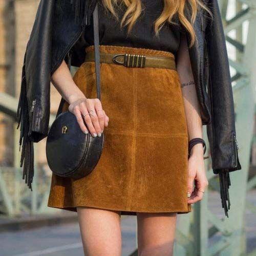 Zara Basic Spodnica Brazowa Zamszowa Skora 34 Xs H 5951158262 Oficjalne Archiwum Allegro Outfits Street Style Fashion