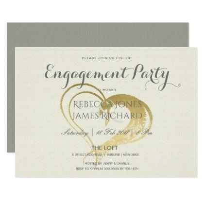 Simple elegant gold heart typography engagement card Engagement - engagement card template