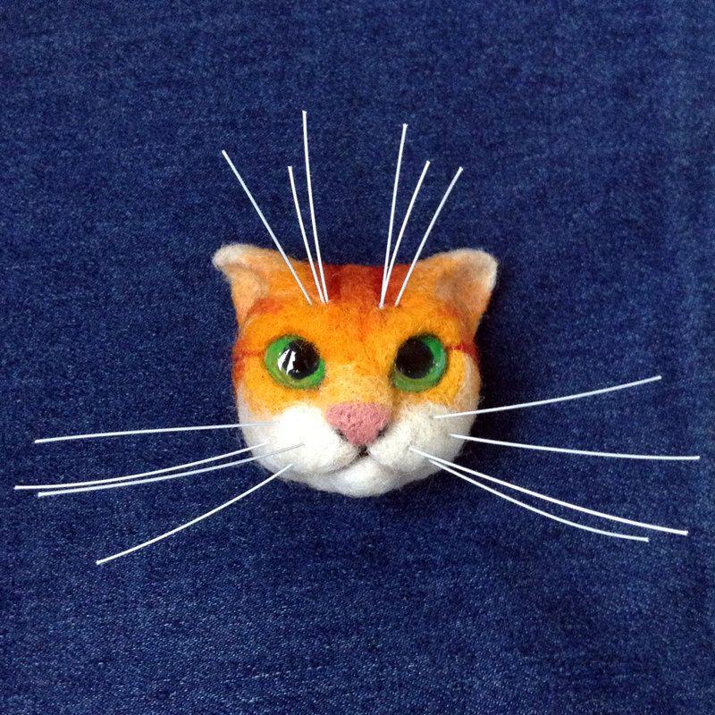 Red Cat Muzzle Brooch Needle Felting Валяние