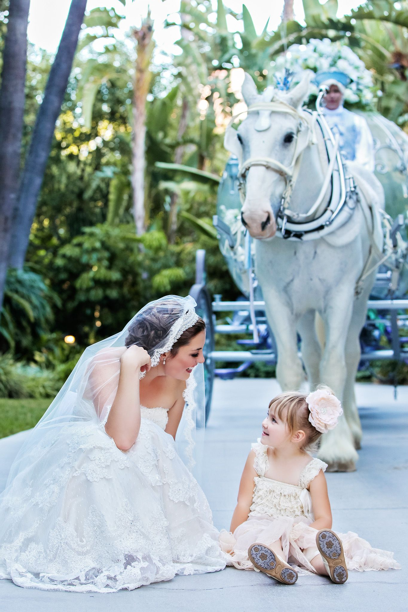 Fairy tale wedding complete with a white horse. #disneyweddings