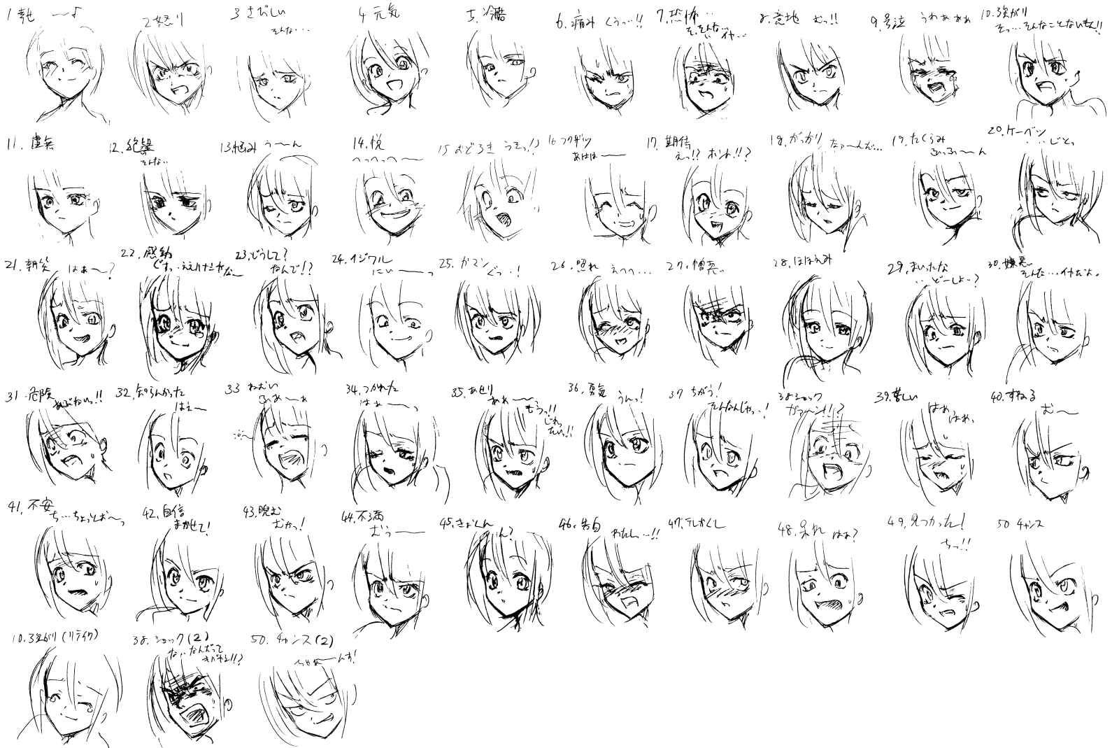 Female expressions  Anime expressions, Anime faces expressions