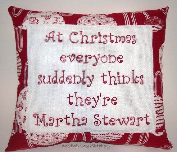 Funny Cross Stitch Christmas Pillow Red Pillow by NeedleNosey, $20.00