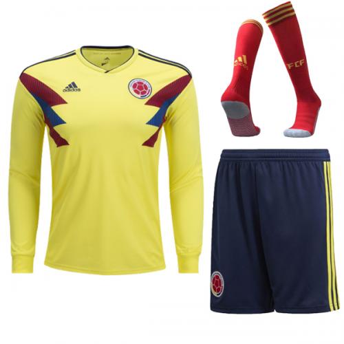 009e55865dd 2018 Colombia Home Long Sleeve Soccer Jersey Whole Kit(Shirt+Short+Socks)
