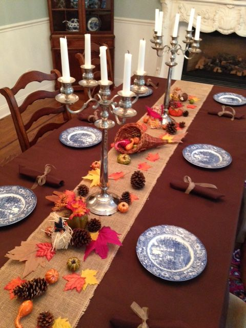 Chocolate Brown #tablecloth With #burlap Runner And #Fall Decor. Just Add  Your