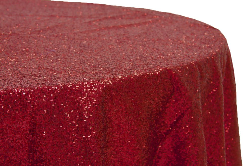 Red Sequin Linen For Cocktail Hour Tables