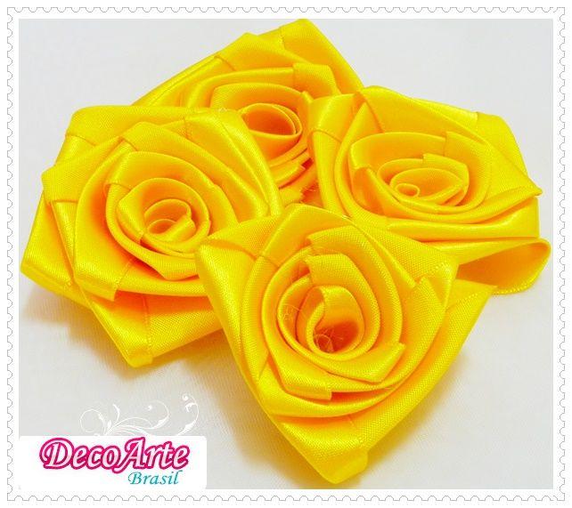 Flor de cetim amarela para head band - decoração, bouquet, arvore francesa, etc