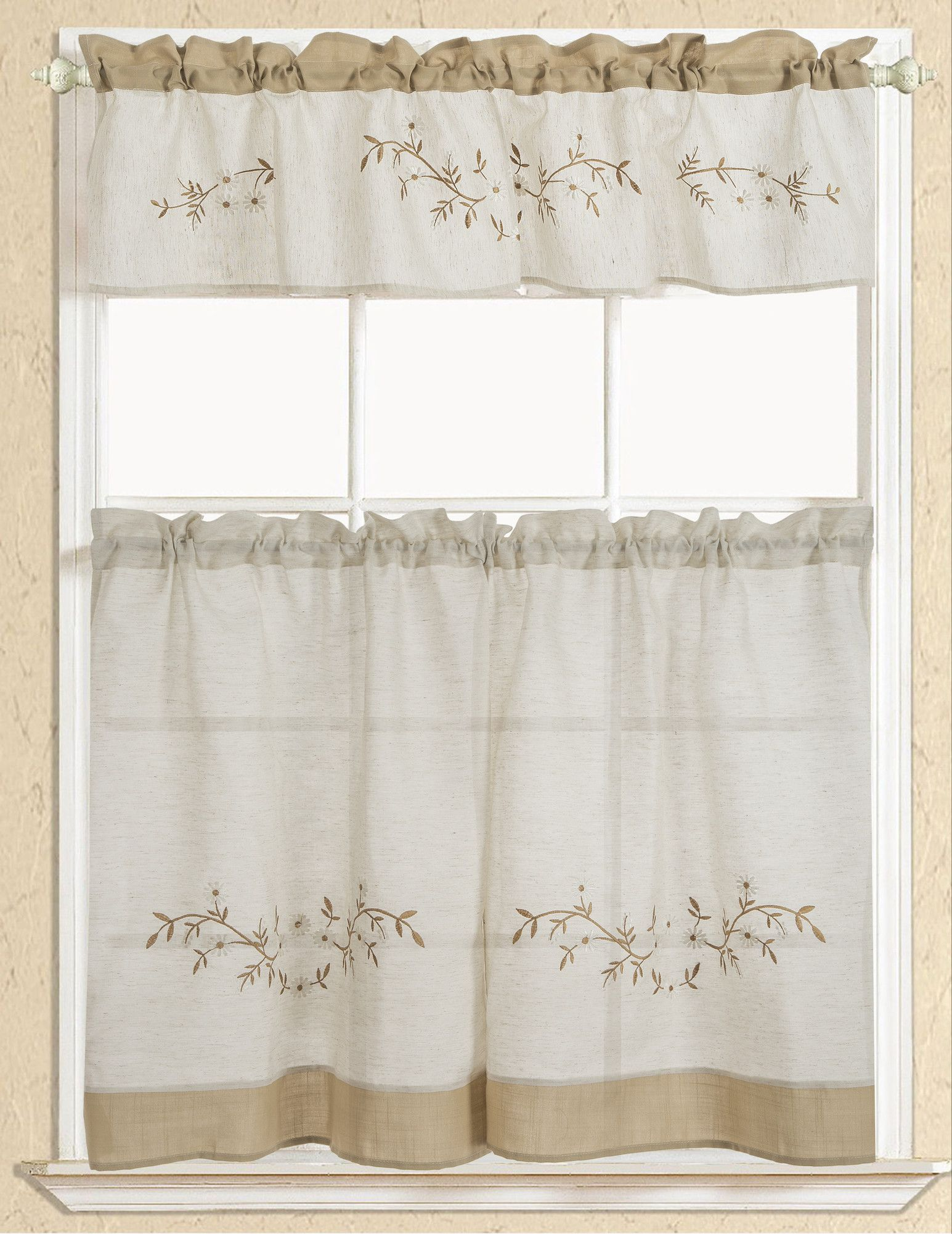 Rustic embroidered kitchen curtain kitchen curtains
