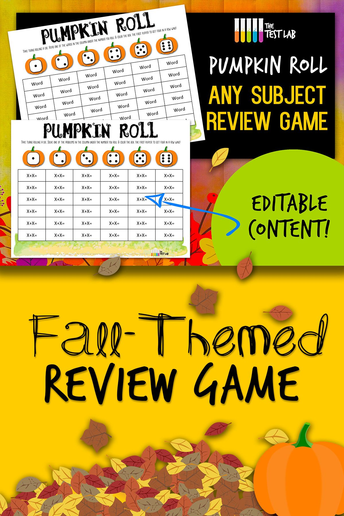 Pumpkin Roll Any Subject Review Game Fall Homework