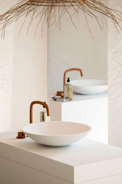 Photo of Copper mixer from byCOCOON.com | white vanity | Designer bathroom | Luxury…