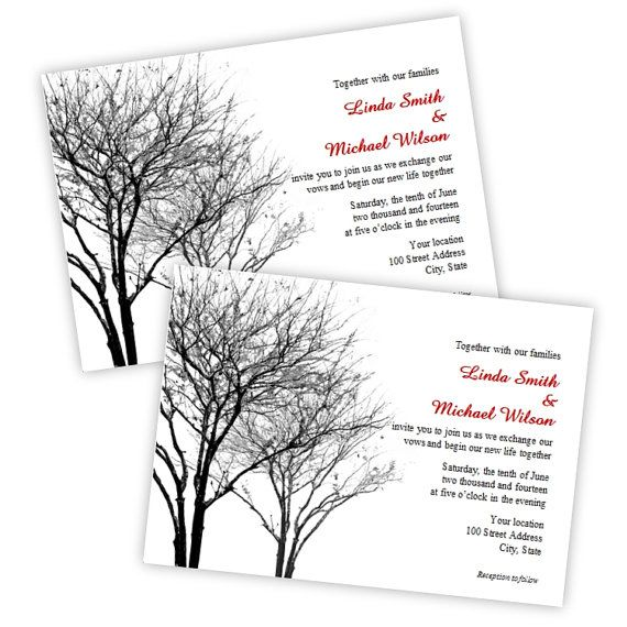 Black and Gray Trees Wedding Invitations - DIY Printable Template